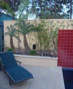 Bamboo poolside wall murals