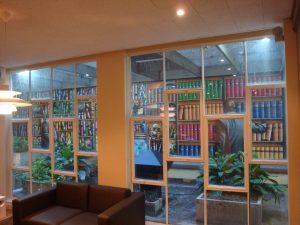 Bookshelves in office wall mural