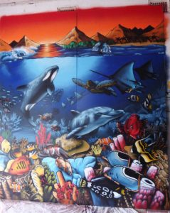 Installation of Aquarium alu wall murals