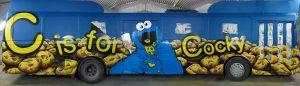 Cookie monster bus exterior graffiti