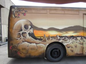 Wasted Generation rustic bus exterior designed graffiti style