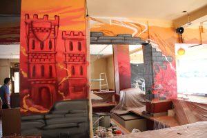Limburg bar interior wall graffiti
