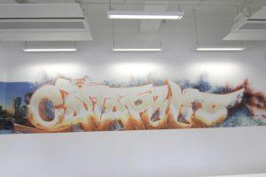 Catapult sports office interior street art wall murals