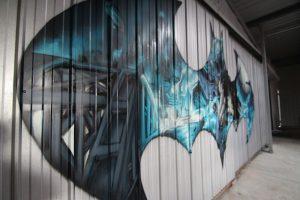 Batman logo graffiti