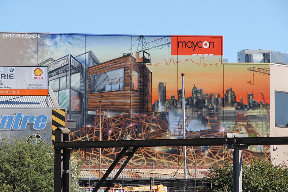 Mayacon constructions branding wall mural