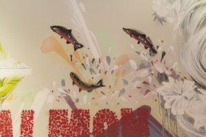 Red Salmon restaurant interior wall murals