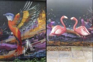 Outdoor graffiti mural of birds