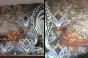 Buddhist themed graffiti in a restaurant