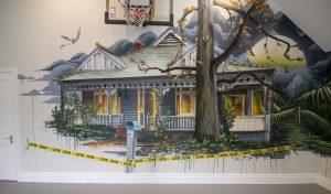 Haunted house graffiti mural