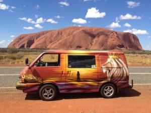 Lion graffiti on a van
