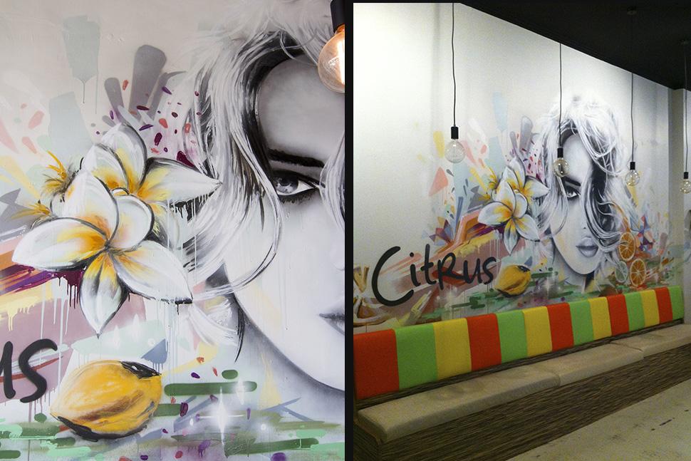 Graffiti portrait in a cafe