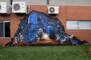 Star wars themed graffiti mural