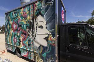 Graffiti portrait on a food truck