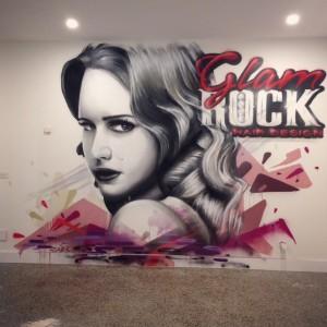 Glam Rock Hair Design Interior Feature Wall