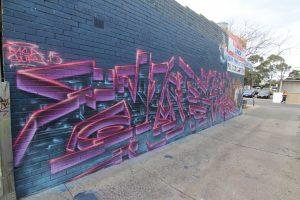 Abstract graffiti mural