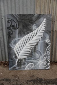 All black feather on canvas in graffiti style