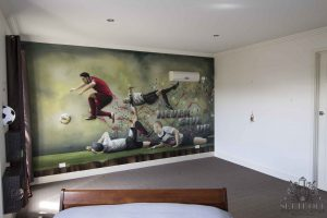 Cristiano Ronaldo graffiti wall mural in kids room