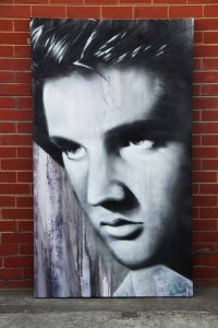 Mural portrait of Elvis Presley on canvas