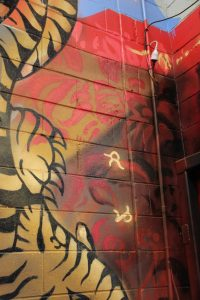 Graffiti mural in a gym