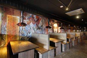 Graffiti mural portrait in a restaurant
