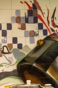 Graffiti backsplash in kitchen