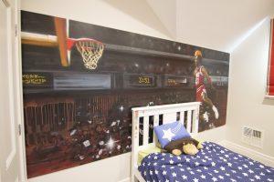 Michael Jordan graffiti mural in kids bedroom