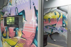 office interior graffiti mural