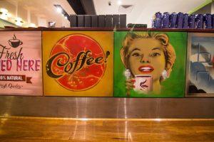Retro themed graffiti in a coffee shop