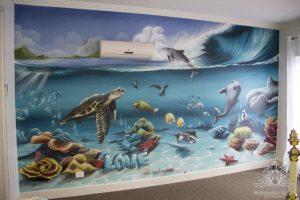 Painted seaworld wall mural for kids bedroom