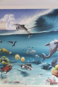 Painted seaworld wall mural for kids bedroom