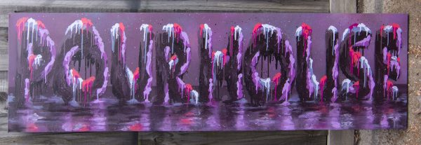 Textured graffiti lettering on canvas