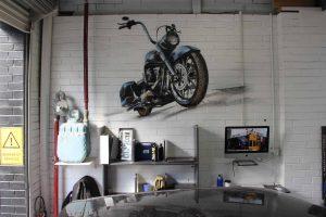 Bodyshop interior design graffiti murals.