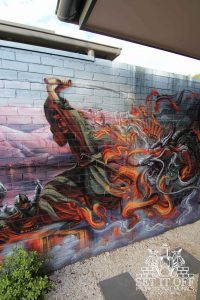 Samurai outdoor graffiti wall mural