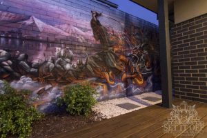 Samurai outdoor graffiti wall mural