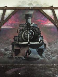 Coal pit restaurant wall mural interior design