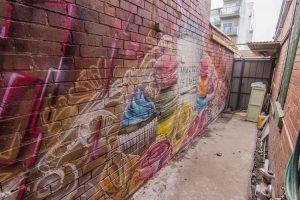 Bakery exterior wall murals branding design.