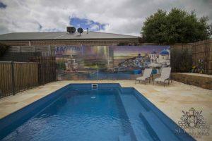 Outdoor graffiti mural of santorini