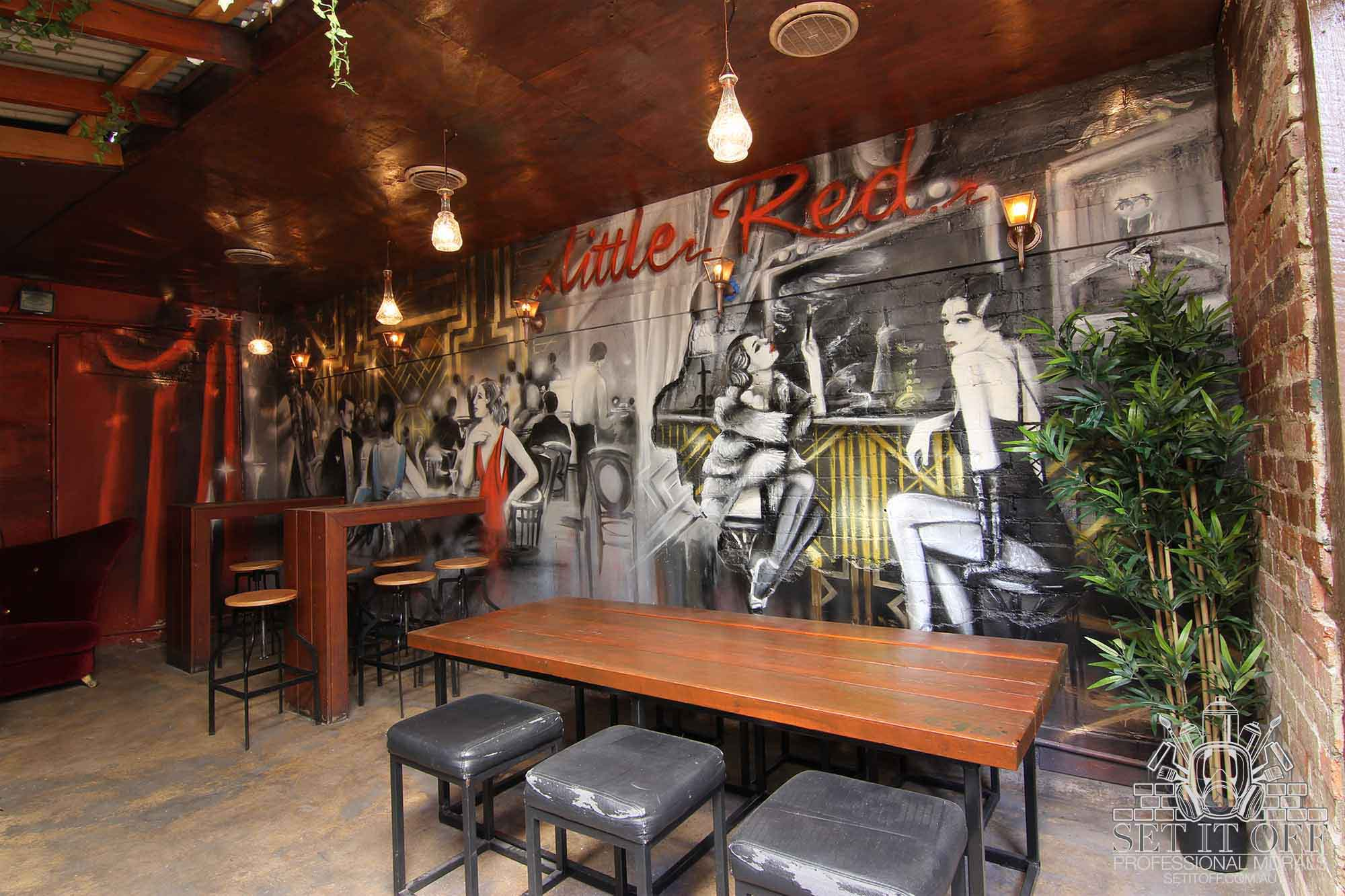 Speakeasy graffiti mural in art deco style