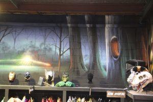 Harry Potter Mecca spray painted graffiti interior design.