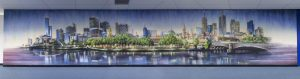 Melbourne city skyline graffiti interior decoration in office space.