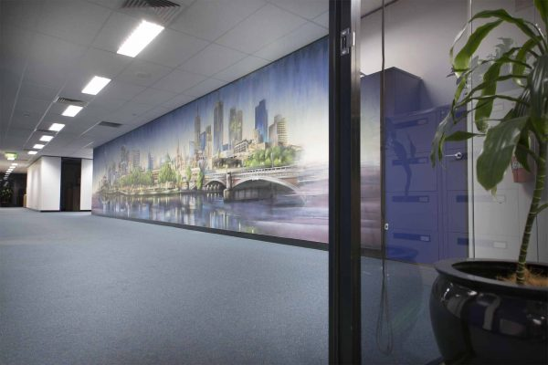 Melbourne city skyline graffiti interior decoration in office space.