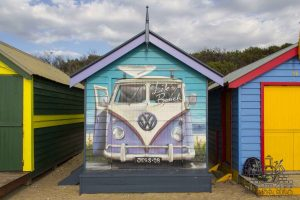 volkswagen van mural on a beach hut