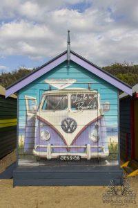 volkswagen van mural on a beach hut