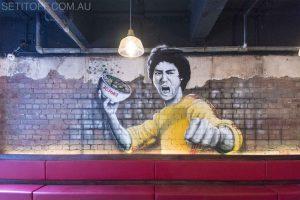 Graffiti mural of Bruce Lee