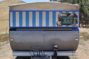 Fish n chips graffiti on a vintage food trailer