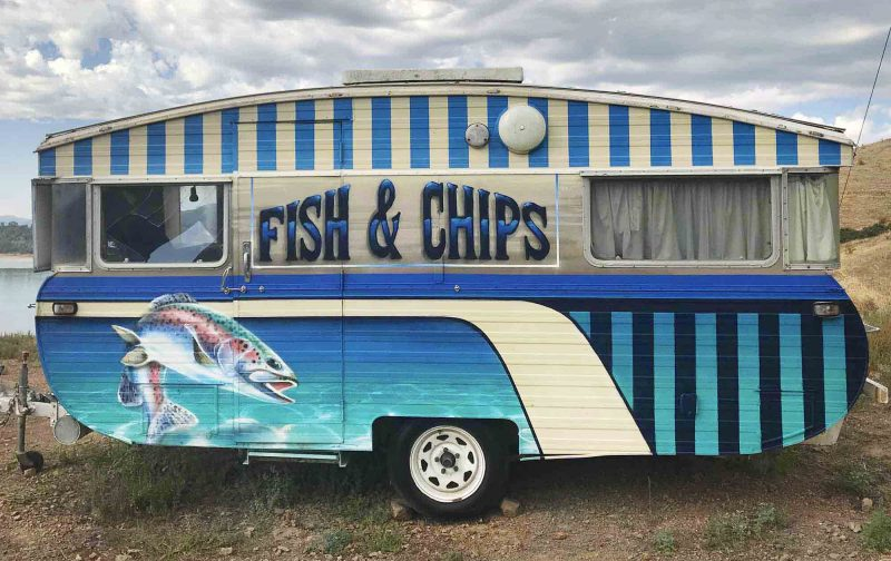 Fish n chips graffiti on a vintage food trailer