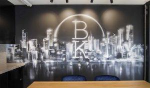 Monochromatic Office Mural