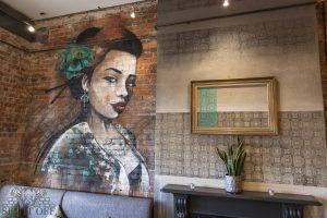 Mural of a geisha in a restaurant
