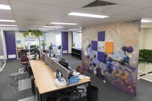 Graffiti mural inside an office