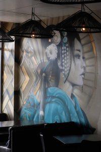 Restaurant Geisha Interior Wall with Granite